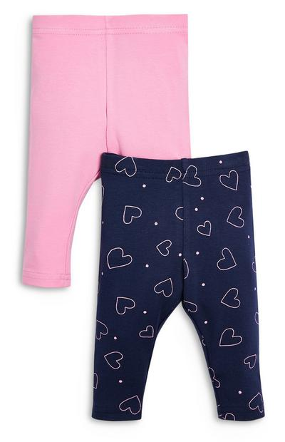 Leggings rosa e blu navy da bimba