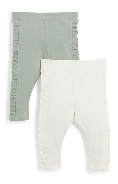 Pack de 2 leggings con volantes para bebé niña