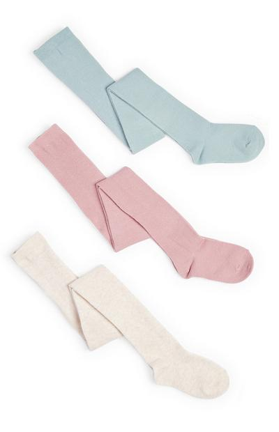 Baby Girl Pastel Cotton Rich Tights 3 Pack