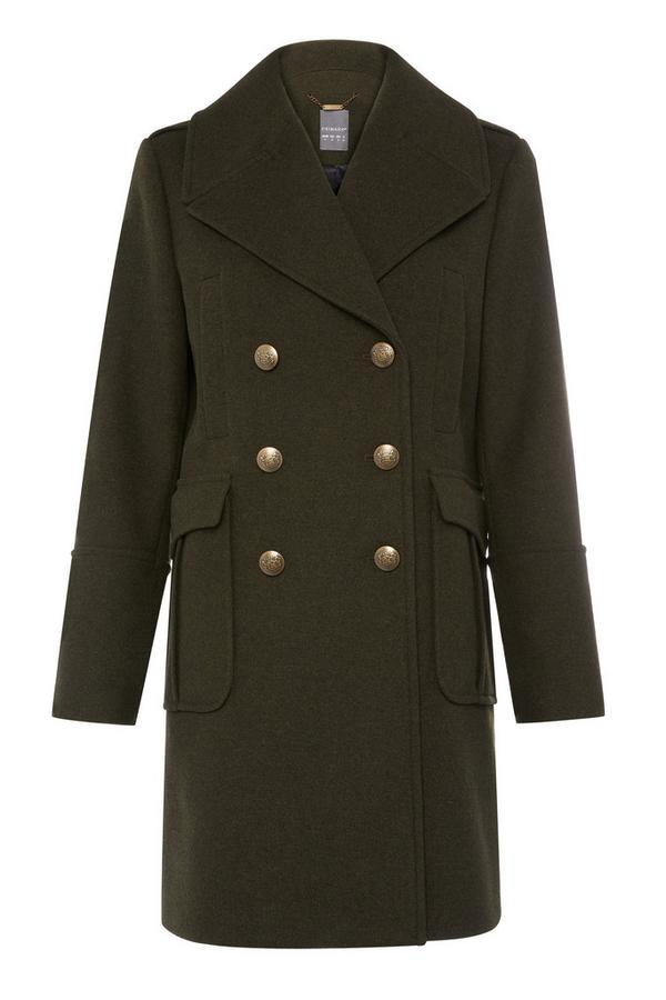 Manteau vert foncé esprit militaire