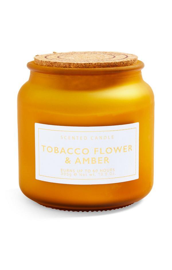 "Große ""Tobacco Flower & Amber"" Kerze im Glas mit Korkdeckel"