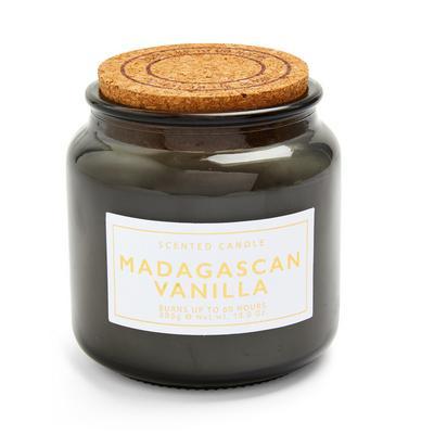 Vela grande con tapón de corcho y olor a vainilla de Madagascar