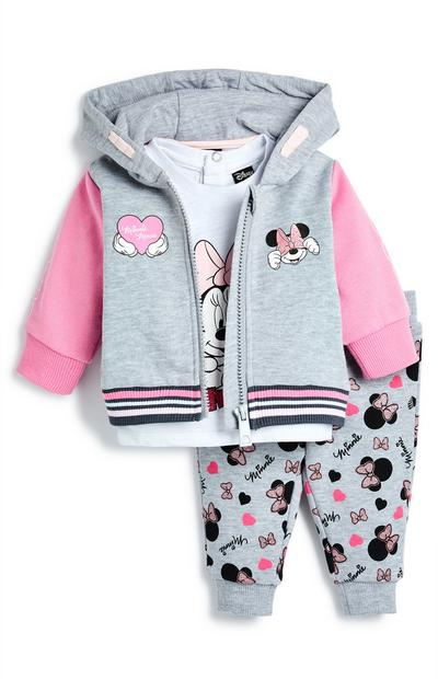 Baby Girl White And Grey Minnie Mouse Tracksuit Set