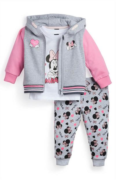 Baby Girl Grey Minnie Mouse Jogger 3 Piece Set