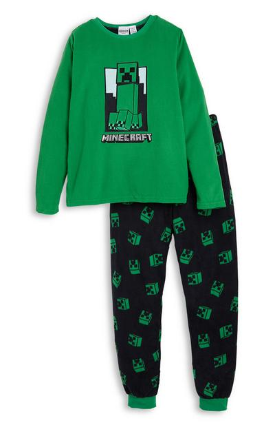 Older Boy Green Minecraft Fleece Pyjamas