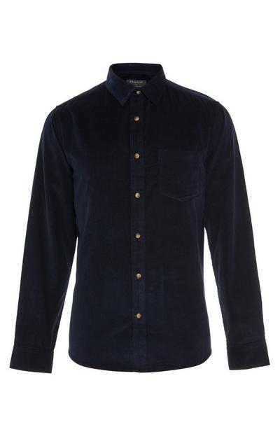 Navy Longsleeved Cord Button Up Shirt