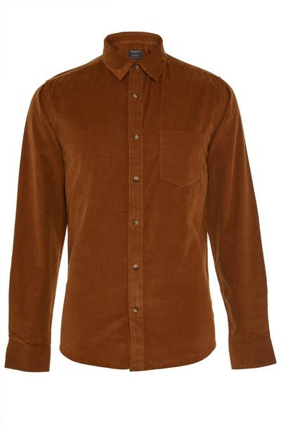 Camel Long Sleeve Cord Shirt