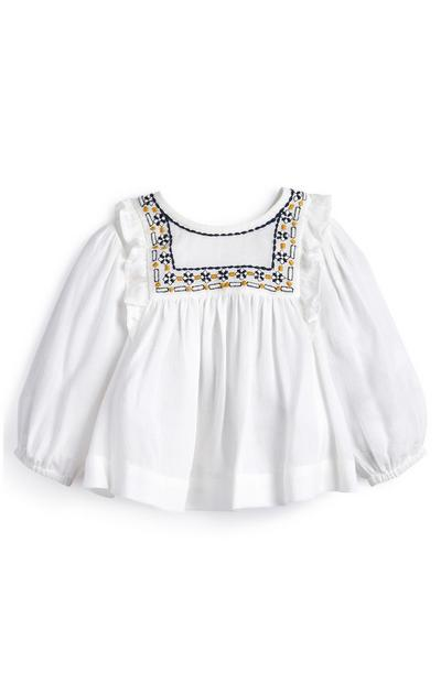 Blusa blanca para bebé niña