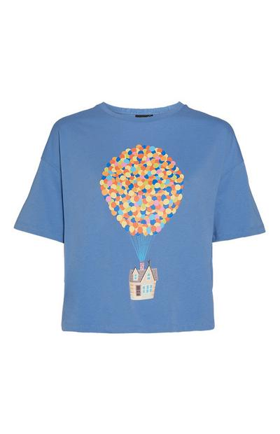"""Up"" T-Shirt mit Ballon-Print in Blau"