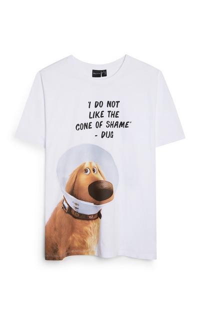 Wit T-shirt met citaat Disney's Up Dug