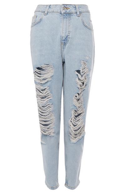 Calças ganga estilo Mom rasgões extremos azul-claro