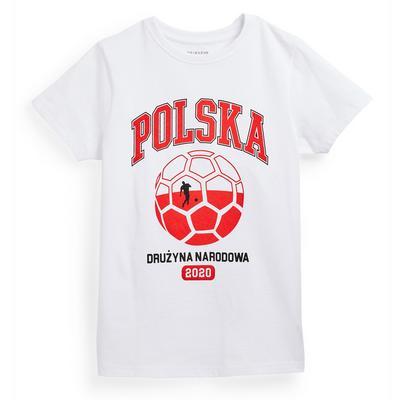Older Boy White Poland Euros Football T-Shirt