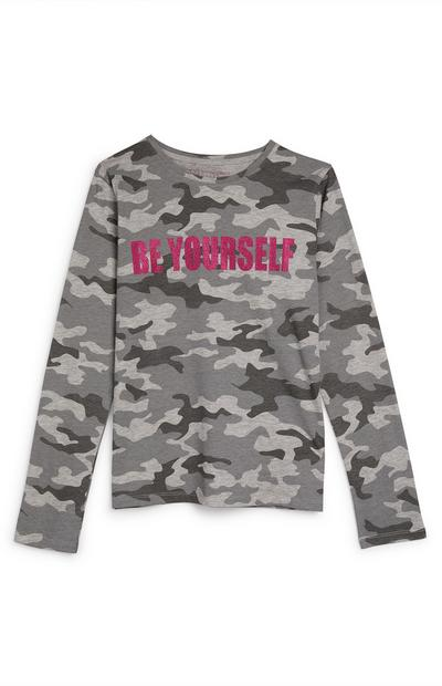Older Girl Grey Camouflage Be Yourself Longsleeve Top