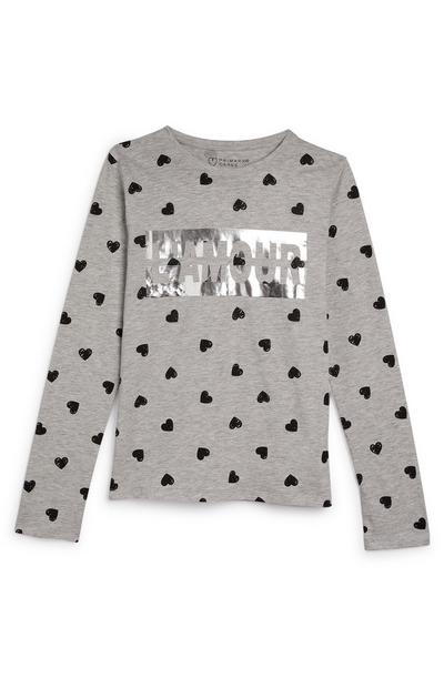 Older Girl Grey Heart Print Longsleeve Top