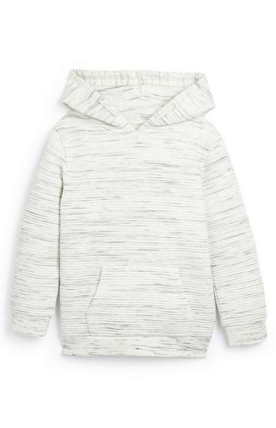 Younger Boy White Textured Quilt Hoodie