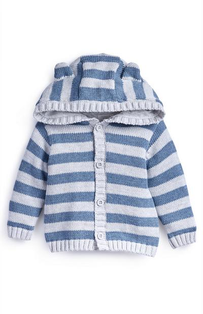 Newborn Baby Boy Blue And Grey Jersey Lined Hooded Cardigan