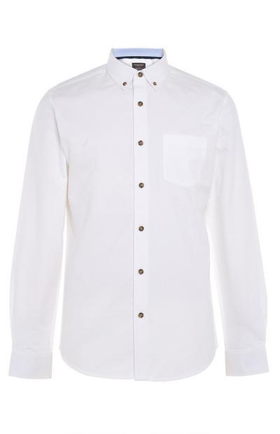 Weißes Langarm-Oxfordhemd