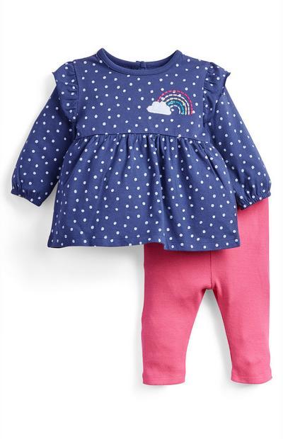 Conjunto de vestido azul y leggings para niña recién nacida