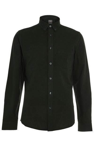 Schwarzes langärmeliges Oxfordhemd