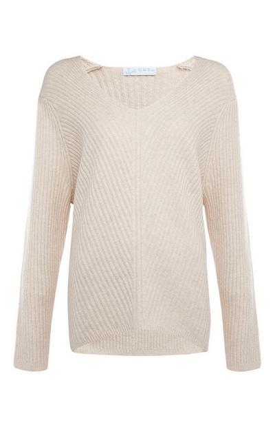 Cream Oversized Ribbed V Neck Sweater