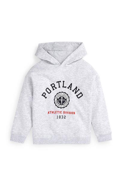 Sudadera gris con capucha y estampado de Portland para niño mayor