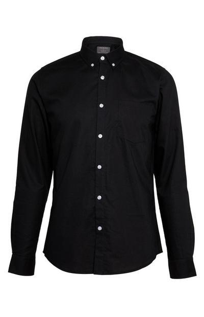Črna klasična srajca Oxford z dolgimi rokavi