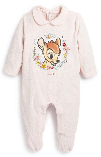 Newborn Baby Girl Blush Bambi Sleepsuit and Hat