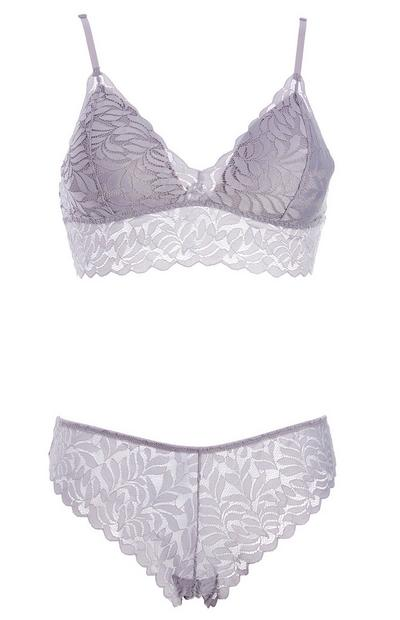 Gray Leaf Lacy Bralette Underwear Set