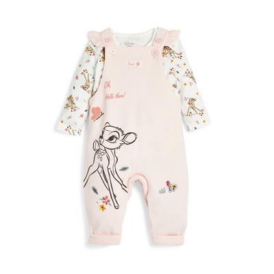 Bledo rožnato-bel komplet hlač z naramnicami in Bambijem za novorojenčke