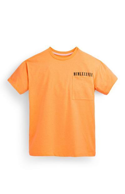 Oranje T-shirt met rugprint voor jongens