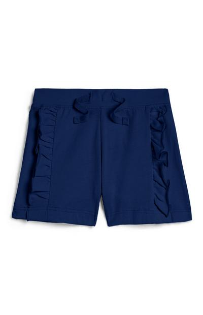 Baby Girl Navy Ruffle Shorts