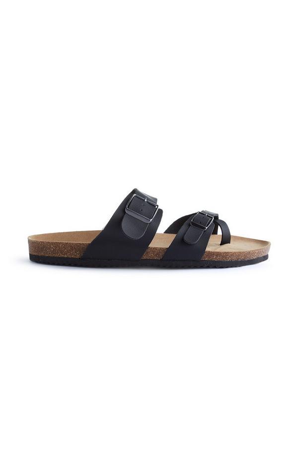 Black Double Buckle Strap Sandals