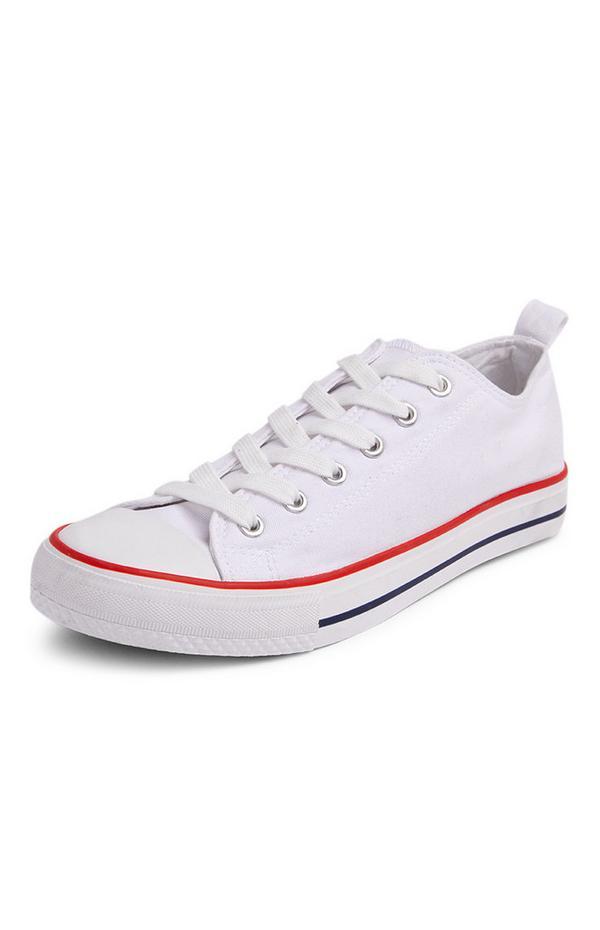 Weiße, klassische Low-Top-Sneaker aus Canvas