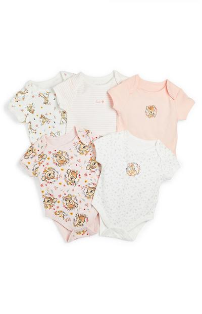 Disney Baby Pink Bambi Bodysuit 5 Pack