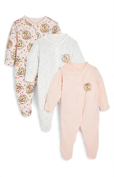 Disney Baby Pink Bambi Sleepsuits 3 Pack