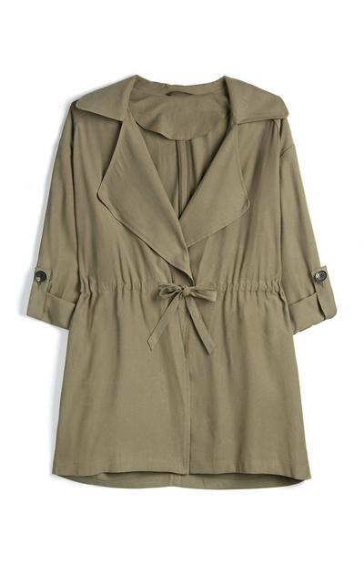 Olive Long Sleeve Casual Midi Duster