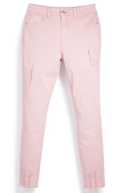 Older Girl Pink Ripped Twill Trousers