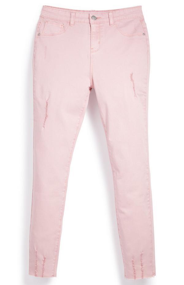 Calças sarja rasgões rapariga cor-de-rosa