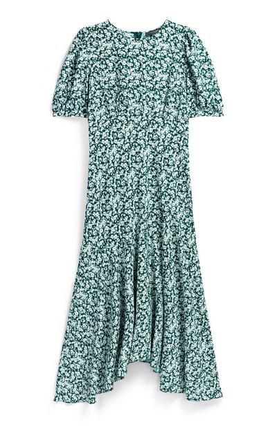 Green Floral Hanky Hem Midi Dress