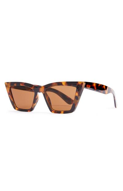 Faux Tortoiseshell Chunky Stretched Cat Eye Sunglasses