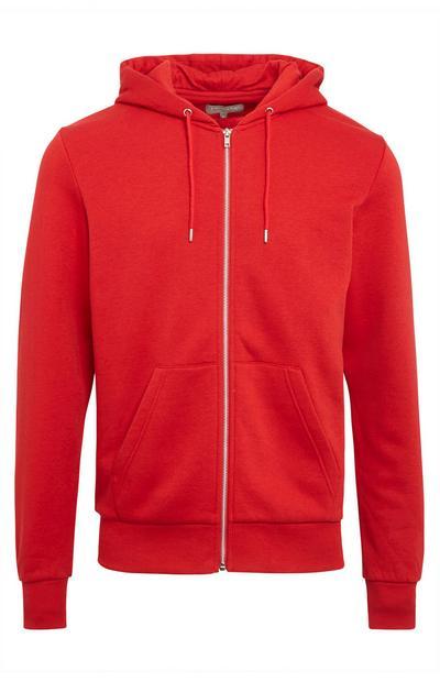 Basic rode hoodie met rits