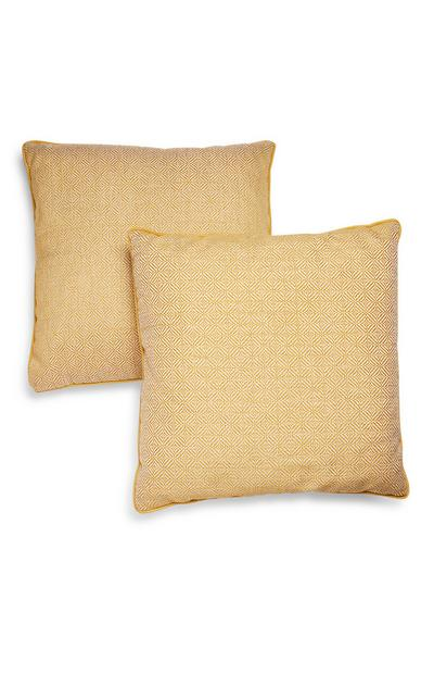 2-Pack Yellow Woven Cushions