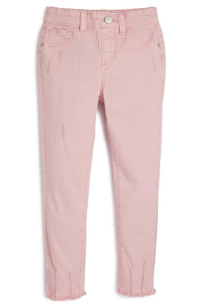 Younger Girl Blush Pink Ripped Twill Trousers