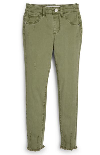 Younger Girl Khaki Ripped Twill Trousers
