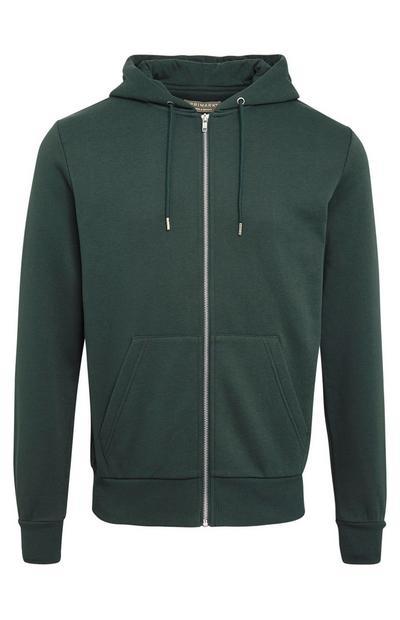 Basic groene hoodie met rits