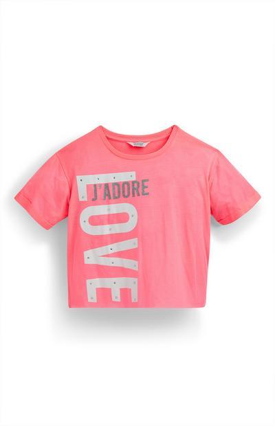 Older Girl Pink Neon Crop T-Shirt