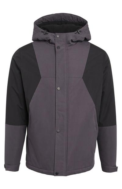Grey Panel Button Up Hooded Jacket