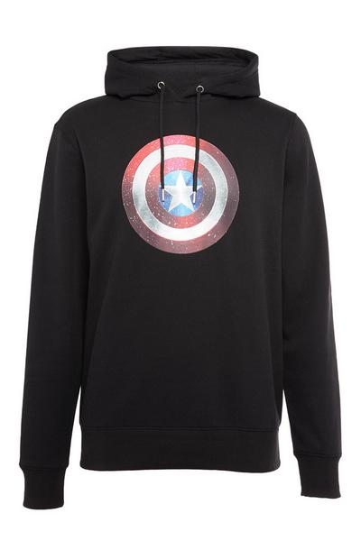 Sweat à capuche noir Captain America