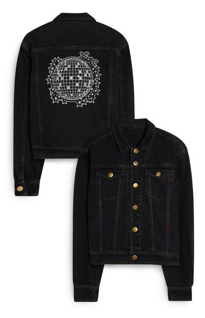 Schwarze Jeansjacke mit Discokugel-Print