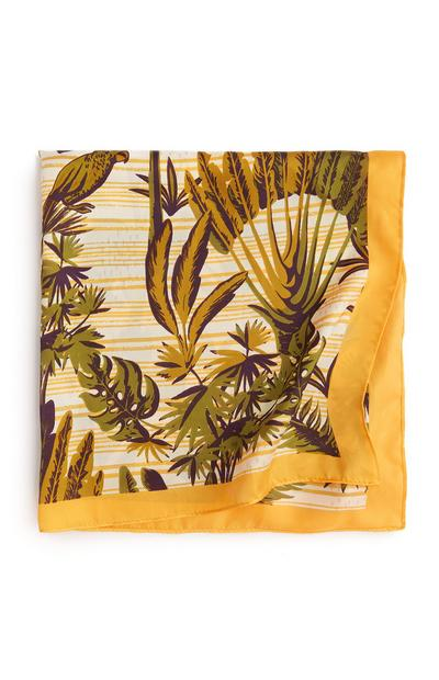 Mustard Leaf Print Scarf